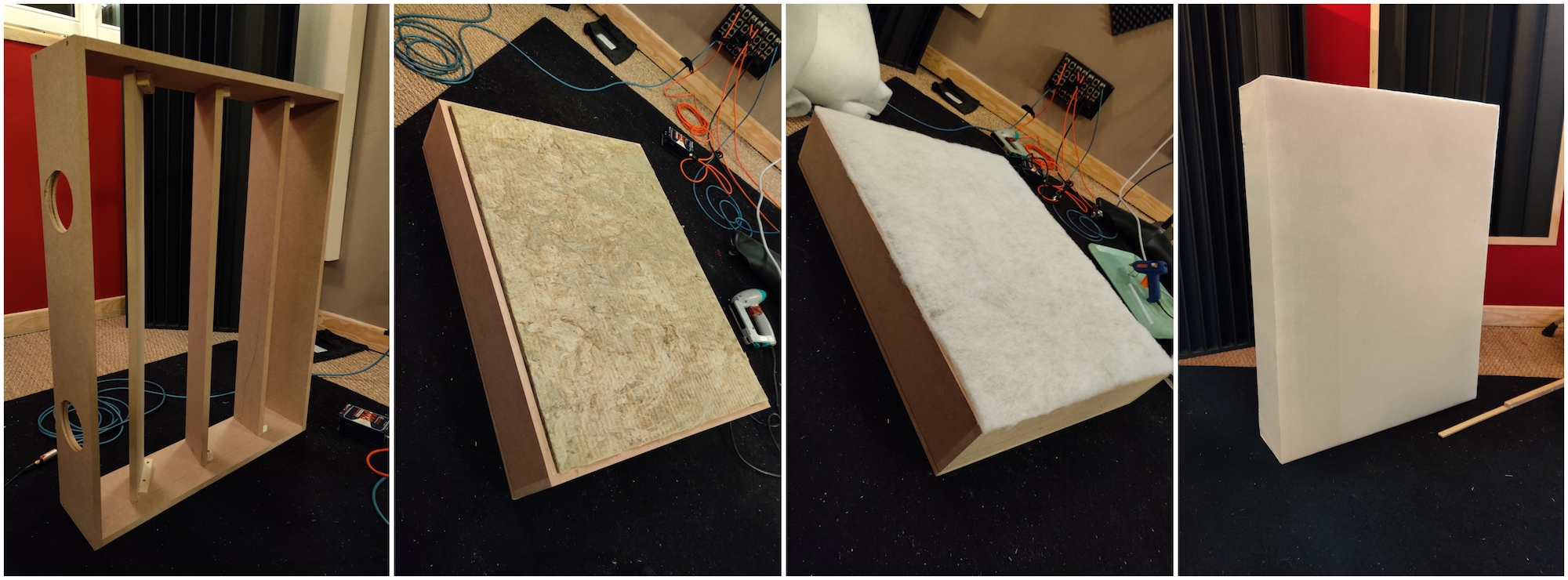 The different steps to build an acoustic absorber panel