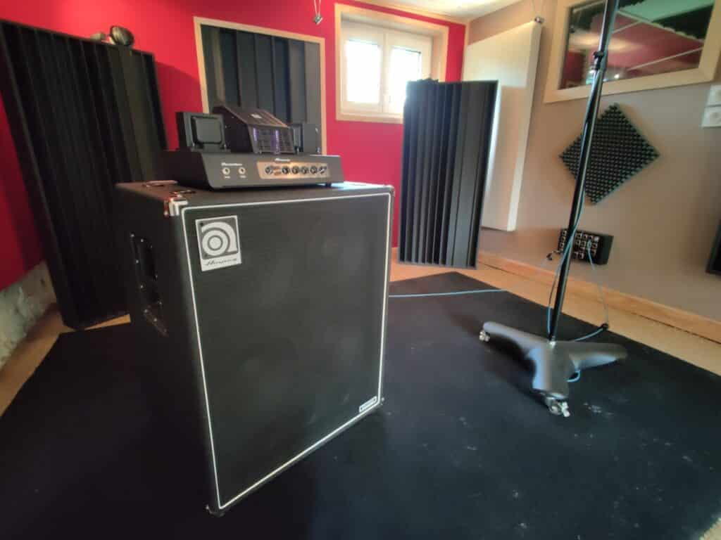 recording, tracking room with ampeg bass amp at the office / the artist paris studio
